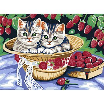 Набор для творчества Белоснежка картина по номерам на холсте Котята в саду 30 на 40 см