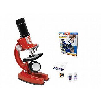 Набор для опытов с микроскопом, 23 предмета в наборе, цвет красный