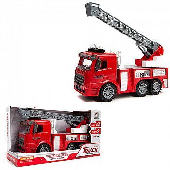 """Машинка 1:14 """"Пожарная машина с выдвижной лестницей"""", пластмассовая инерционная, со звук. и свет. эффектами, Индивидуальная упаковка 34х13х19см"""