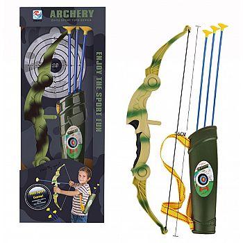 Игровой набор Junfa Лук камуфляжный складной со стрелами и колчаном