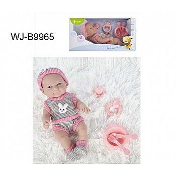 Пупс JUNFA Pure Baby 30см в серых кофточке, шортиках, шапочке и носочках, с аксессуарами