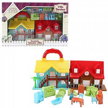 Дом кукольный, с мебелью и человечками, складной