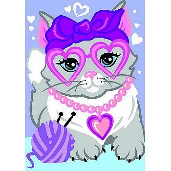 Набор для творчества LORI Картина по номерам для малышей Гламурная кошечка