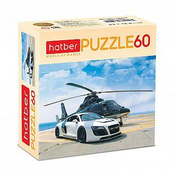 Пазл Hatber Вертолет и гонка 60 элементов, 230Х165мм