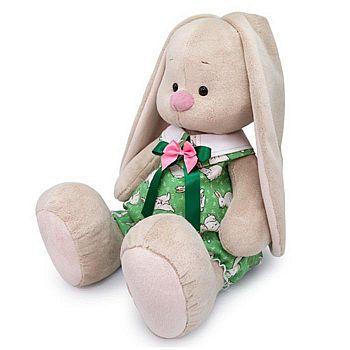 Мягкая игрушка BUDI BASA Зайка Ми Большой в зеленом комбинезоне с кроликами 34 см