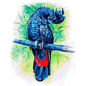 Набор для творчества Белоснежка Картина по номерам на холсте Синий попугай 30*40 см