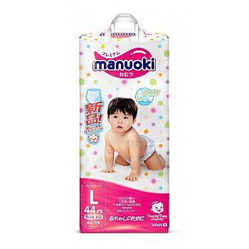 Трусики-подгузники MANUOKI, размер L, 9-14 кг, 44 шт