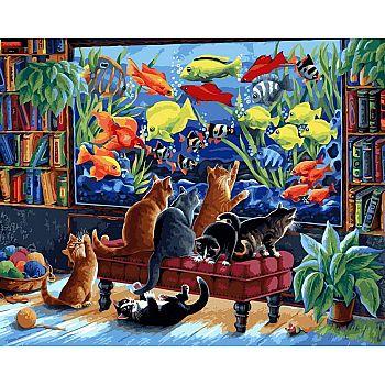 Набор для творчества Белоснежка картина по номерам на холсте Коты и рыбки 40 на 50 см