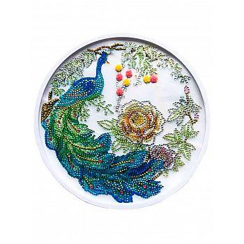 Набор для творчества Рыжий кот Алмазная мозаика Красивый павлин круглая, с подрамником с частичным заполнением, с камнями разных форм (16 цветов) диам