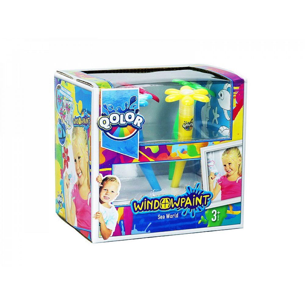 "Набор фломастер-кисточка, краски акриловые ""Window paint"" в наборе 4 цвета, блистер-упаковка"