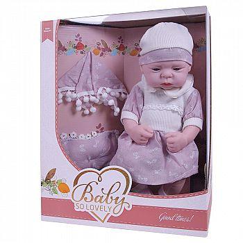 """Пупс """"Baby So Lovely"""", 38см (15''), в розовом платье с шапочкой и аксессуарами"""