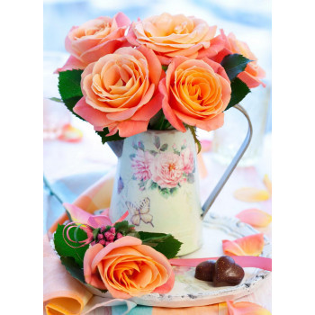 Набор для творчества Рыжий кот Холст с красками по номерам Коралловые розы 22*30см