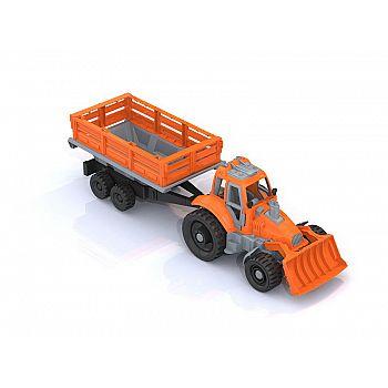 Трактор с грейдером и прицепом 61*16,5*17,5 см