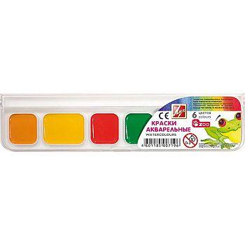 """Акварель """"ZOO"""" 6 цветов без кисти (пластмассовая упаковка с прозрачной крышкой)"""