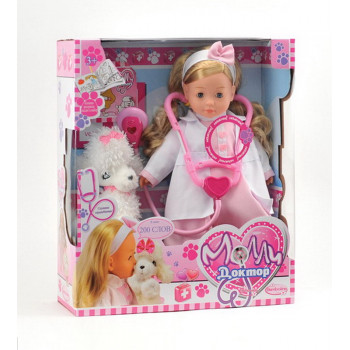Кукла DIMIAN Molly Доктор со стетоскопом и собачкой, говорит 200 слов, частично мягконабивная, 40 см