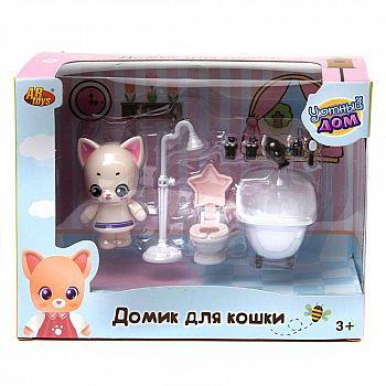 Игровой набор ABtoys Уютный дом Домик для кошки малый. Ванная комната