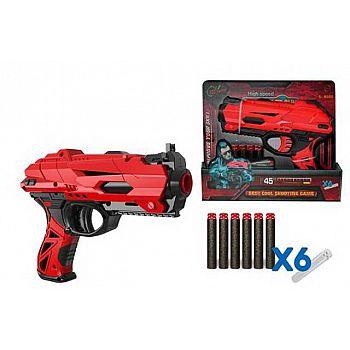 Набор игровой Бластер красно-черный с аксессуарами и мягкими снарядами 6 шт