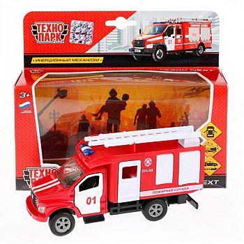 Машинка Технопарк Газ Газон Next Пожарная машина открываются двери, металл, инерция, 14,5см