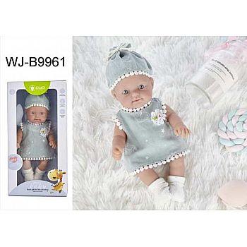 Пупс JUNFA Pure Baby 25см в сером платье, шапочке, носочках
