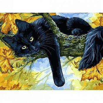 Набор для творчества Белоснежка картина по номерам на холсте Осенний кот 30 на 40 см
