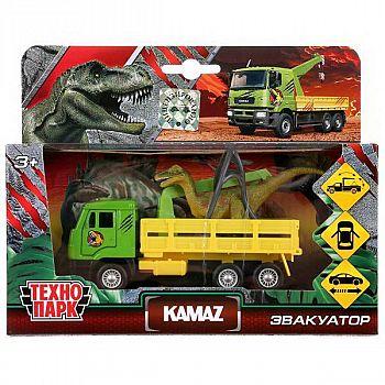 Машинка Технопарк Кamaz эвакуатор и динозавр открываются двери, багажник, инерцонная, металлическая 9 см