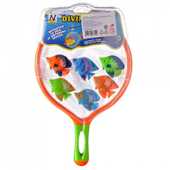 Игровой набор Junfa Поймай рыбку сачок 30х19см и 6 тропических рыбок