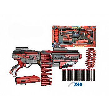 Набор игровой Бластер красно-черный с аксессуарами и мягкими снарядами 40шт