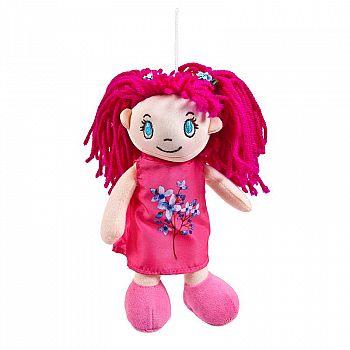 Кукла ABtoys Мягкое сердце, мягконабивная в малиновом платье, 20 см