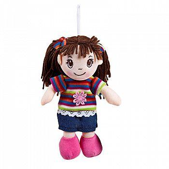 Кукла ABtoys Мягкое сердце, мягконабивная, платье в полоску, 20 см