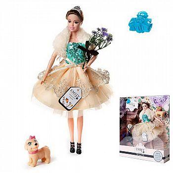 Кукла ABtoys Emily Цветочная серия с собачкой и аксессуарами, 30см