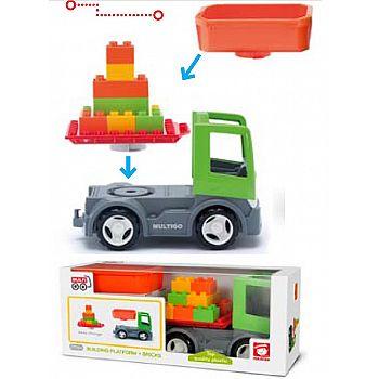 Грузовик со строительной платформой, сменным кузовом и кубиками, пластмасса, экологичная упаковка
