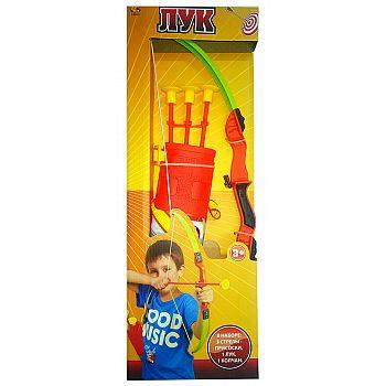 Игровой набор ABtoys Лук со стрелами на присосках, в наборе 3 стрелы, колчан и лук
