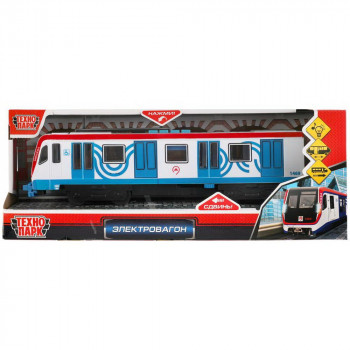Машинка Технопарк Вагон Метро Метрополитен со светом и звуком Красный 30 см