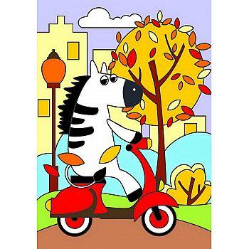 Набор для творчества LORI Картина по номерам для малышей Зебра на мопеде
