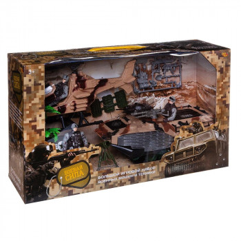 Игровой набор ABtoys Боевая сила. Военная техника с катером, лодкой, фигуркой и аксессуарами, 7 предметов