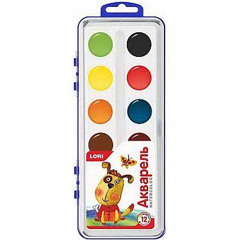 Краска акварельная в пластмассовой упаковке (малая) 12 цветов