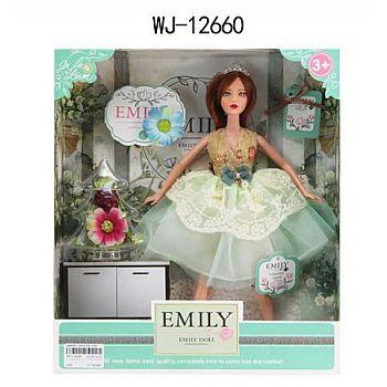 Кукла ABtoys Emily Мятная серия с букетом и аксессуарами 30см