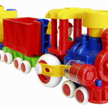 Паровозик Ромашка с 2 вагонами (Детский сад) 57 см.