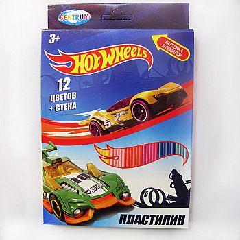 """Пластилин 12 цветов """"Hot Wheels"""", картинка """"Hot Wheels"""", 240 гр, стек пластиковый, картонная упаковка с европодвесом"""