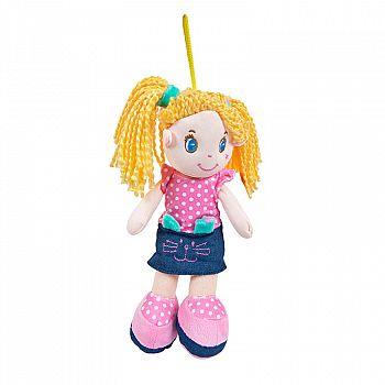 Кукла ABtoys Мягкое сердце, блондинка в джинсовой юбочке, мягконабивная, 20 см