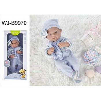 Пупс JUNFA Pure Baby 35см в голубом комбинезоне, шапочке с шарфом, в коробке
