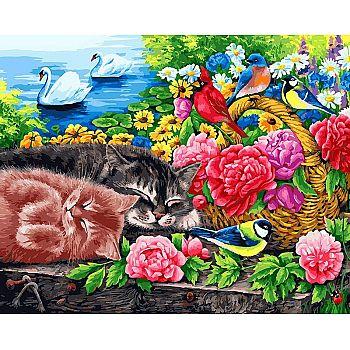 Набор для творчества Белоснежка картина по номерам на холсте Корзина с цветами 40 на 50 см