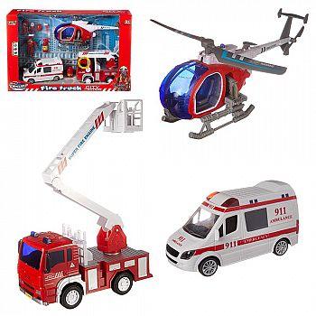 Игровой набор Junfa Служба спасения (пожарная машина, скорая помощь, вертолет, акссесуары), со световыми и звуковыми эффектами, в коробке