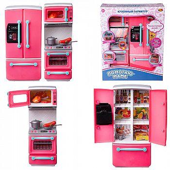 Кухонный гарнитур ABtoys Помогаю Маме в наборе с аксессуарами, 2 секции, на батарейках