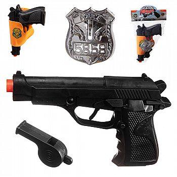 Пистолет Junfa полицеский в кобуре со свистком, в пакете
