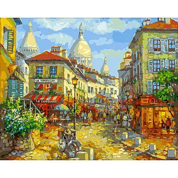 Набор для творчества Белоснежка картина по номерам на холсте Париж. Монмантр 40 на 50 см