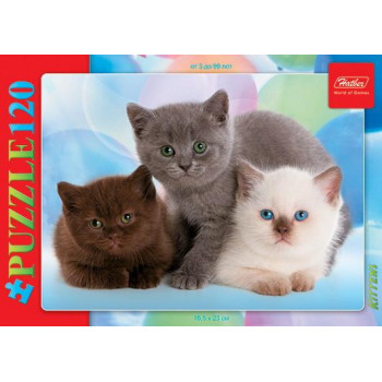Пазл Hatber Три котенка 120 элементов А5 формат 230Х165мм