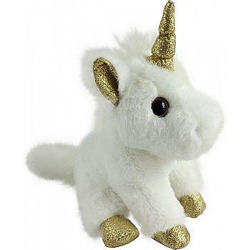Единорог белый с золотом 15 см игрушка мягкая