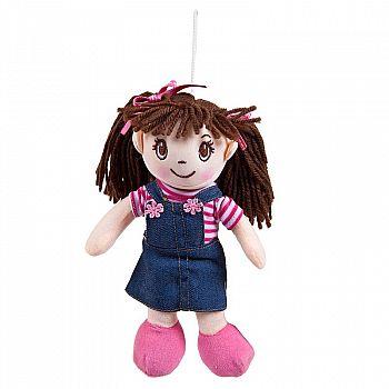 Кукла ABtoys Мягкое сердце, мягконабивная в джинсовом сарафане, 20 см