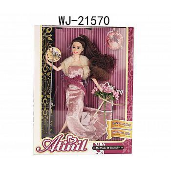 """Кукла Junfa """"Atinil. В театре на премьере"""" в длинном платье с меховой накидкой, 28см"""